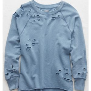 aerie light blue distressed sweater